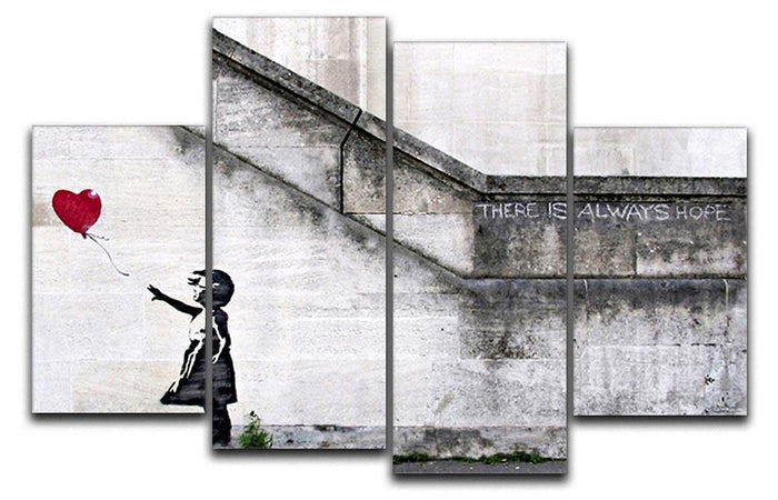 Banksy There is Always Hope 4 Split Panel Canvas