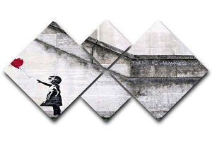 Banksy There is Always Hope 4 Square Multi Panel Canvas  - Canvas Art Rocks - 1