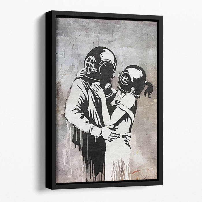 Banksy Think Tank Floating Framed Canvas
