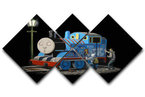 Banksy Thomas the Tank Engine 4 Square Multi Panel Canvas  - Canvas Art Rocks - 1