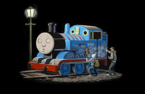 Banksy Thomas the Tank Engine Wall Mural Wallpaper - Canvas Art Rocks - 1