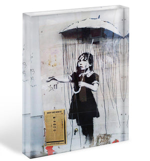 Banksy Umbrella Girl Acrylic Block - Canvas Art Rocks - 1