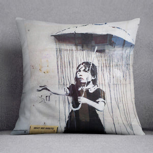 Banksy Umbrella Girl Cushion