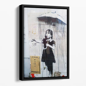 Banksy Umbrella Girl Floating Framed Canvas