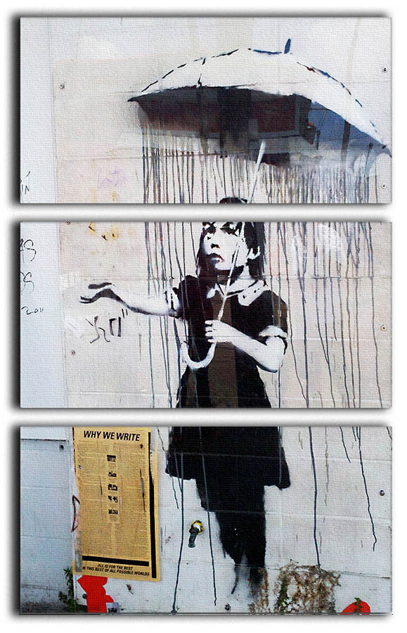 Banksy Umbrella Girl 3 Split Canvas Print - Canvas Art Rocks