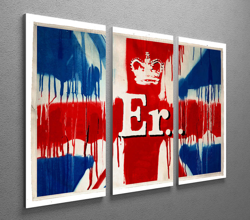 Banksy Union Jack ER 3 Split Panel Canvas Print - Canvas Art Rocks