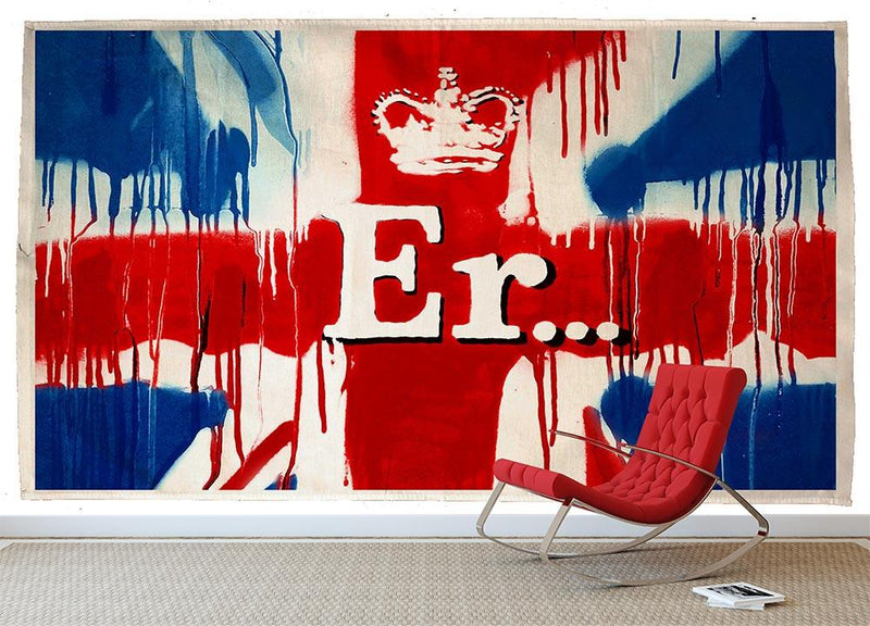 Banksy Union Jack ER Wall Mural Wallpaper - Canvas Art Rocks - 1