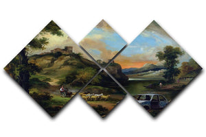 Banksy Vandalised Car 4 Square Multi Panel Canvas  - Canvas Art Rocks - 1