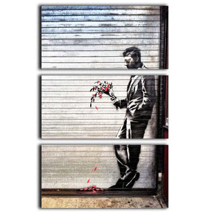 Banksy Waiting in Vain 3 Split Panel Canvas Print - Canvas Art Rocks - 1