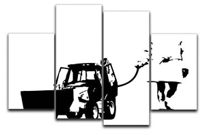 Banksy Walking The Cat 4 Split Panel Canvas  - Canvas Art Rocks - 1
