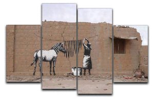 Banksy Washing Zebra Stripes 4 Split Panel Canvas  - Canvas Art Rocks - 1