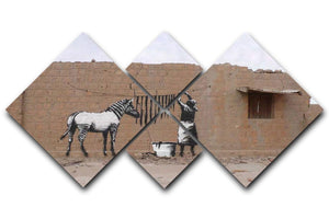 Banksy Washing Zebra Stripes 4 Square Multi Panel Canvas  - Canvas Art Rocks - 1