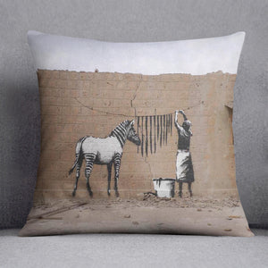 Banksy Washing Zebra Stripes Cushion