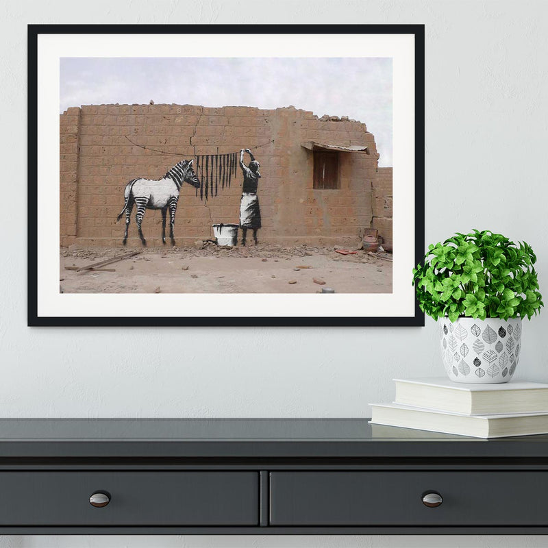 Banksy Washing Zebra Stripes Framed Print - Canvas Art Rocks - 1