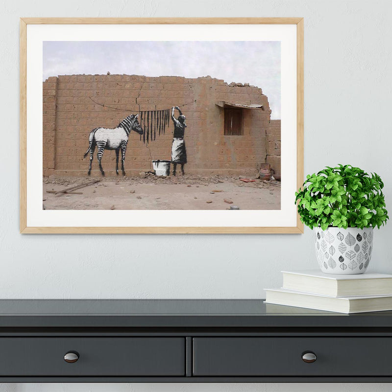 Banksy Washing Zebra Stripes Framed Print - Canvas Art Rocks - 3