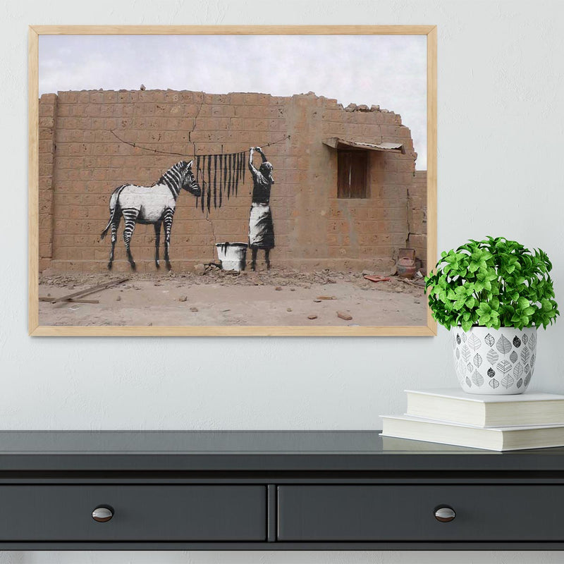 Banksy Washing Zebra Stripes Framed Print - Canvas Art Rocks - 4