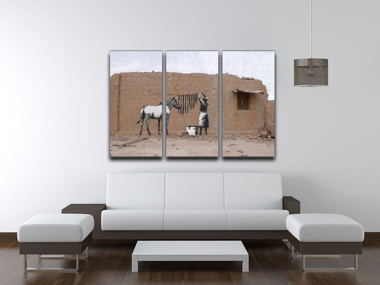 Banksy Washing Zebra Stripes 3 Split Canvas Print - Canvas Art Rocks