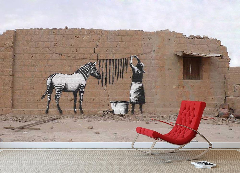 Banksy Washing Zebra Stripes Wall Mural Wallpaper - Canvas Art Rocks - 2