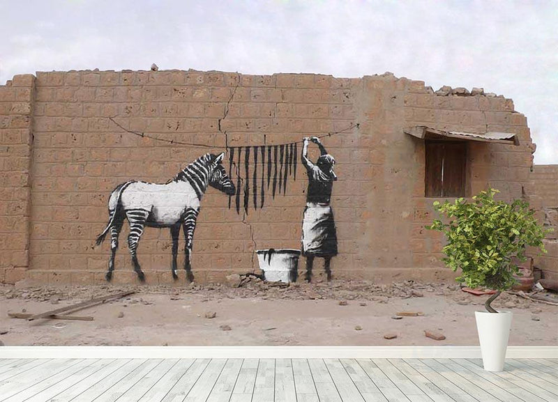 Banksy Washing Zebra Stripes Wall Mural Wallpaper - Canvas Art Rocks - 4