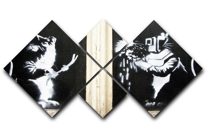 Banksy Welding Rats 4 Square Multi Panel Canvas
