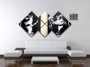 Banksy Welding Rats 4 Square Multi Panel Canvas - Canvas Art Rocks - 3
