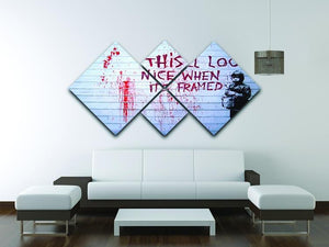 Banksy When Its Framed 4 Square Multi Panel Canvas - Canvas Art Rocks - 3