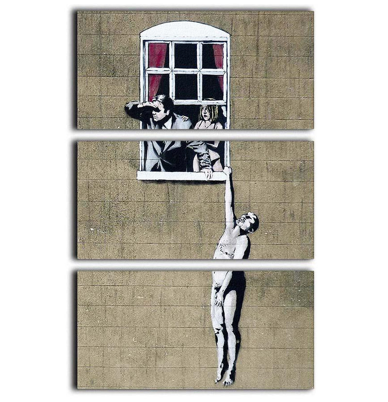Banksy Window Lovers 3 Split Panel Canvas Print - Canvas Art Rocks - 1