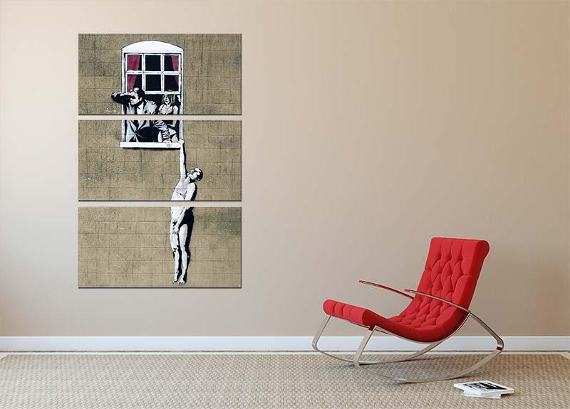 Banksy Window Lovers 3 Split Panel Canvas Print - Canvas Art Rocks - 2