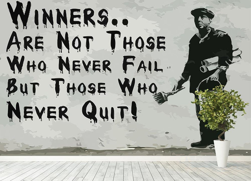 Banksy Winners Are Not Wall Mural Wallpaper - Canvas Art Rocks - 4
