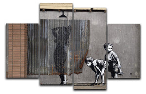 Banksy Woman In Shower 4 Split Panel Canvas  - Canvas Art Rocks - 1