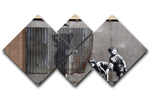 Banksy Woman In Shower 4 Square Multi Panel Canvas  - Canvas Art Rocks - 1