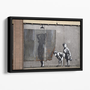 Banksy Woman In Shower Floating Framed Canvas
