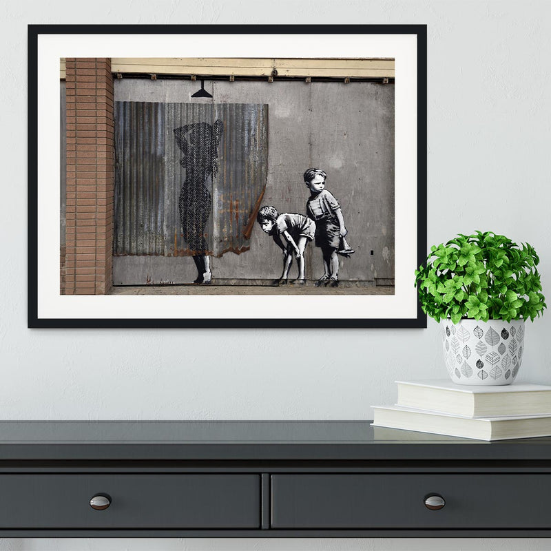 Banksy Woman In Shower Framed Print - Canvas Art Rocks - 1