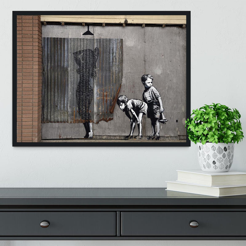 Banksy Woman In Shower Framed Print - Canvas Art Rocks - 2