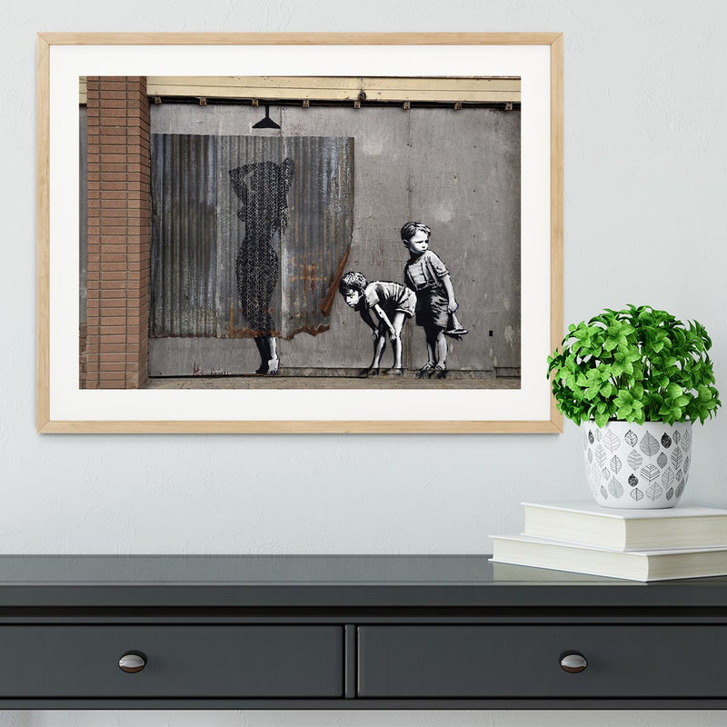 Banksy Woman In Shower Framed Print - Canvas Art Rocks - 3