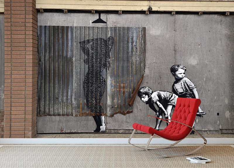 Banksy Woman In Shower Wall Mural Wallpaper - Canvas Art Rocks - 1