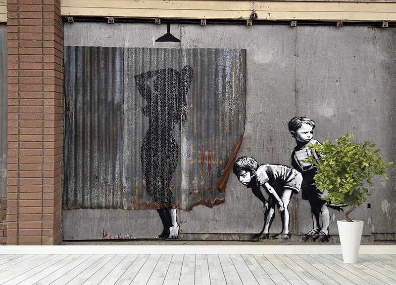 Banksy Woman In Shower Wall Mural Wallpaper - Canvas Art Rocks - 4