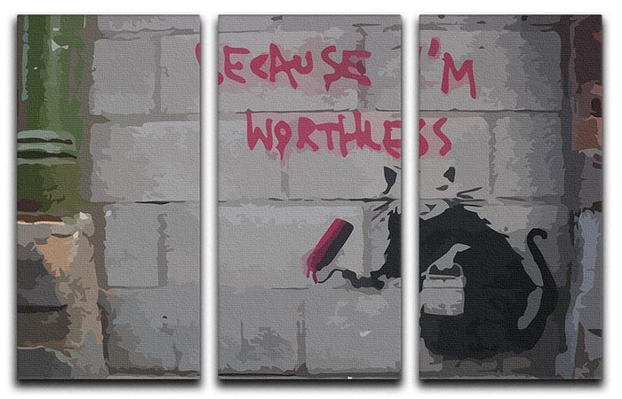 Banksy Worthless Rat 3 Split Panel Canvas Print