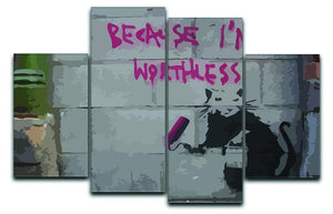 Banksy Worthless Rat 4 Split Panel Canvas  - Canvas Art Rocks - 1