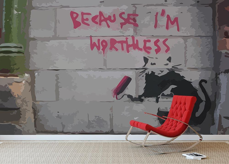 Banksy Worthless Rat Wall Mural Wallpaper - Canvas Art Rocks - 1