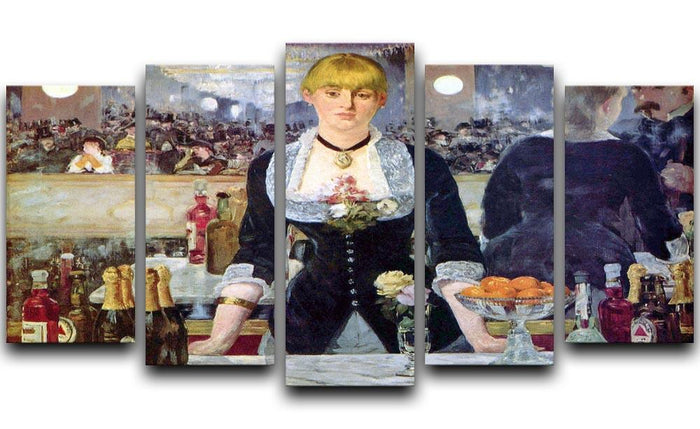 Bar in the Folies-Bergere by Manet 5 Split Panel Canvas