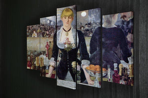 Bar in the Folies-Bergere by Manet 5 Split Panel Canvas - Canvas Art Rocks - 2