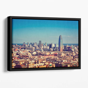 Barcelona skyline with skyscrapers Floating Framed Canvas