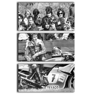 Barry Sheene motorcycle racer 3 Split Panel Canvas Print - Canvas Art Rocks - 1