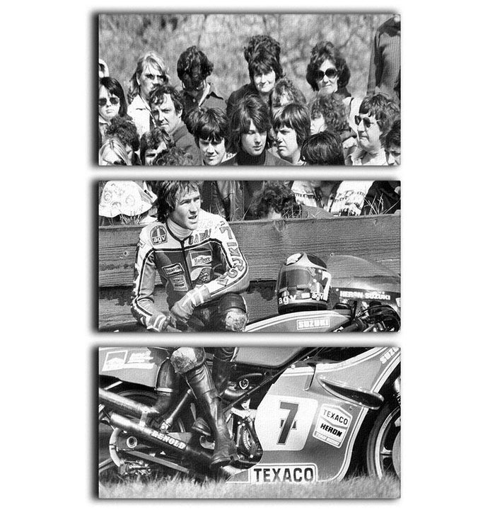 Barry Sheene motorcycle racer 3 Split Panel Canvas Print