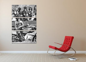 Barry Sheene motorcycle racer 3 Split Panel Canvas Print - Canvas Art Rocks - 2