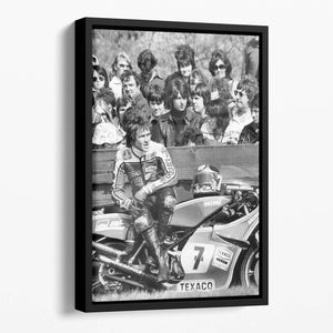 Barry Sheene motorcycle racer Floating Framed Canvas