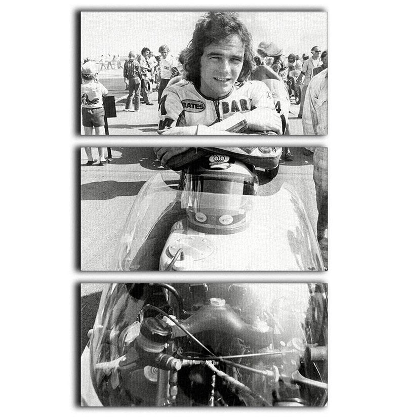 Barry Sheene motorcycle racing champion 3 Split Panel Canvas Print - Canvas Art Rocks - 1