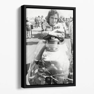 Barry Sheene motorcycle racing champion Floating Framed Canvas