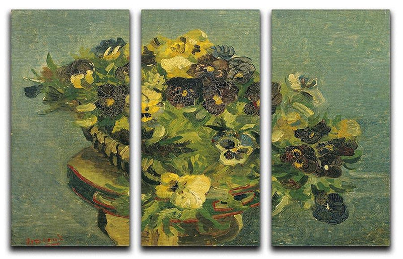 Basket of pansies on a small table by Van Gogh 3 Split Panel Canvas Print - Canvas Art Rocks - 4